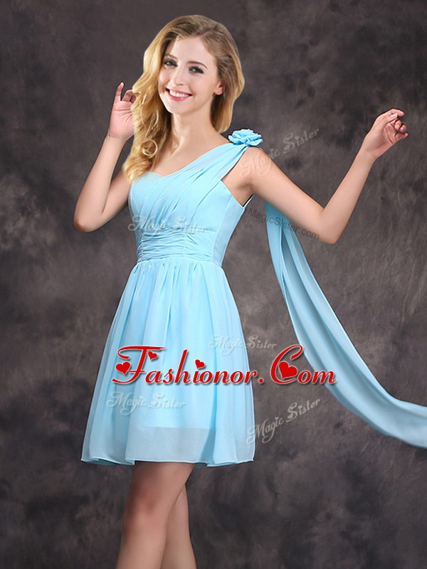 Suitable One Shoulder Sleeveless Chiffon Quinceanera Dama Dress Ruching and Hand Made Flower Zipper