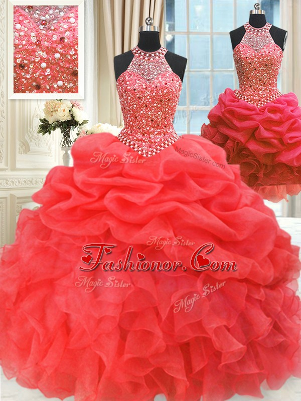 Dramatic Three Piece Red Ball Gowns High-neck Sleeveless Organza Floor Length Lace Up Beading and Pick Ups Sweet 16 Quinceanera Dress