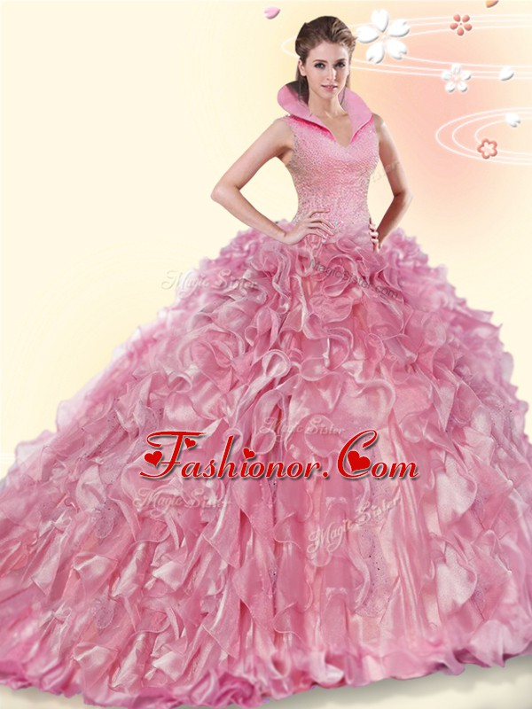 Exceptional Ball Gowns Sleeveless Pink Sweet 16 Dresses Brush Train Backless