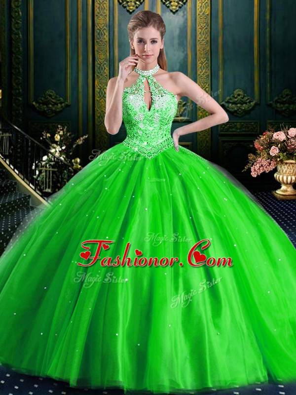 Glittering Quince Ball Gowns Military Ball and Sweet 16 and Quinceanera with Beading Halter Top Sleeveless Lace Up
