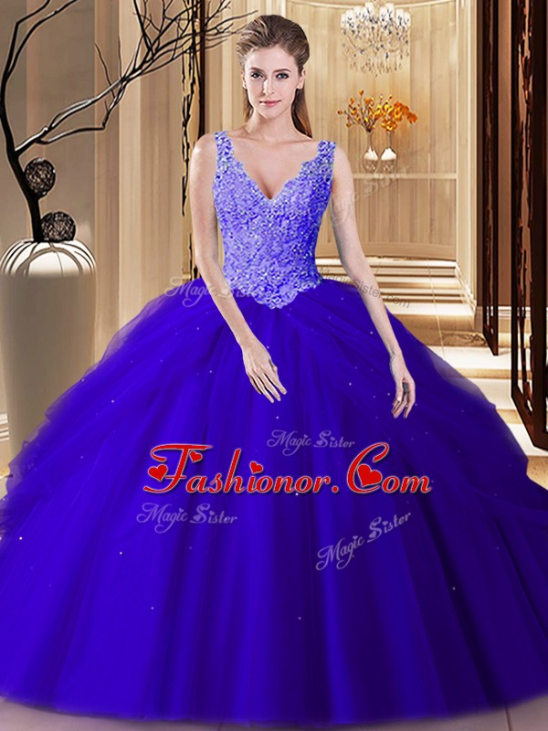 Smart Royal Blue V-neck Backless Lace and Appliques and Pick Ups ...