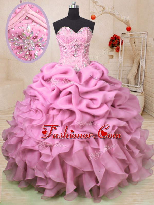 Baby Pink Sleeveless Floor Length Beading and Ruffles and Pick Ups Lace Up Sweet 16 Dress