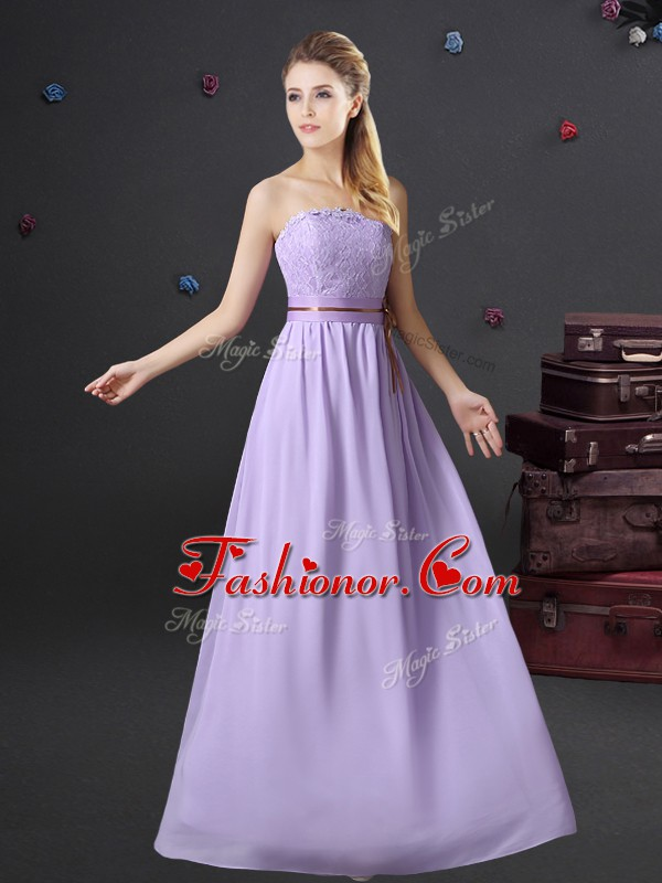 Beauteous Strapless Sleeveless Lace Up Quinceanera Court of