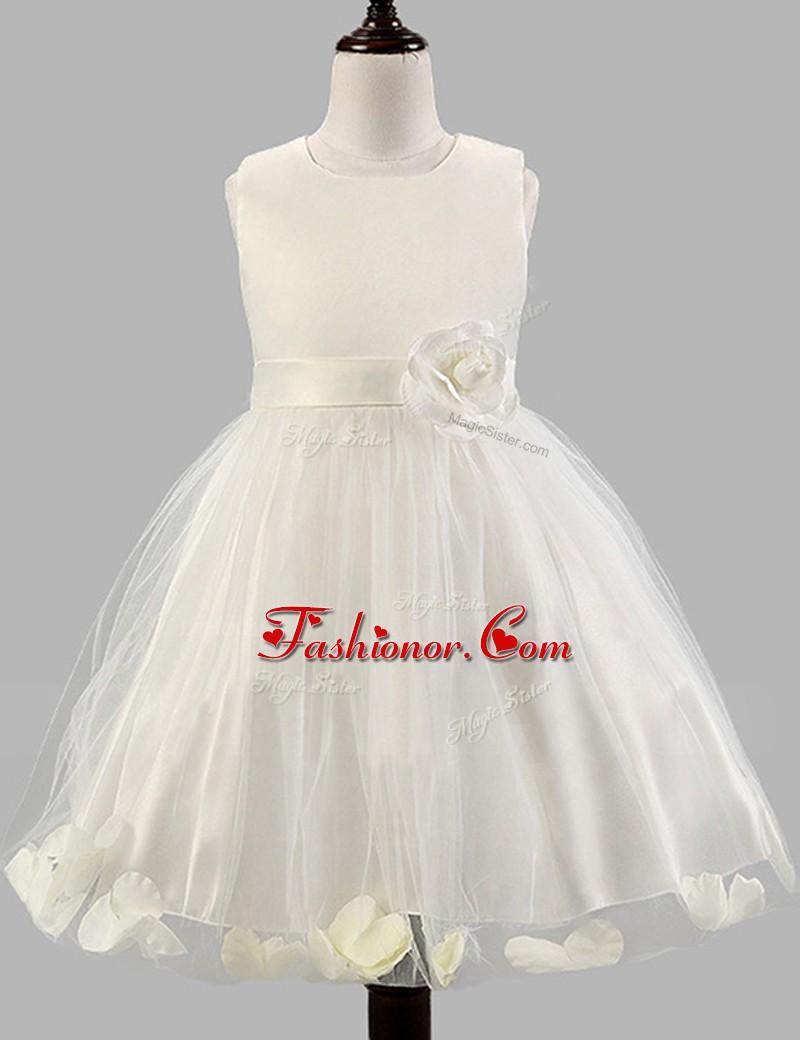 Unique Scoop Floor Length Zipper Toddler Flower Girl Dress White For