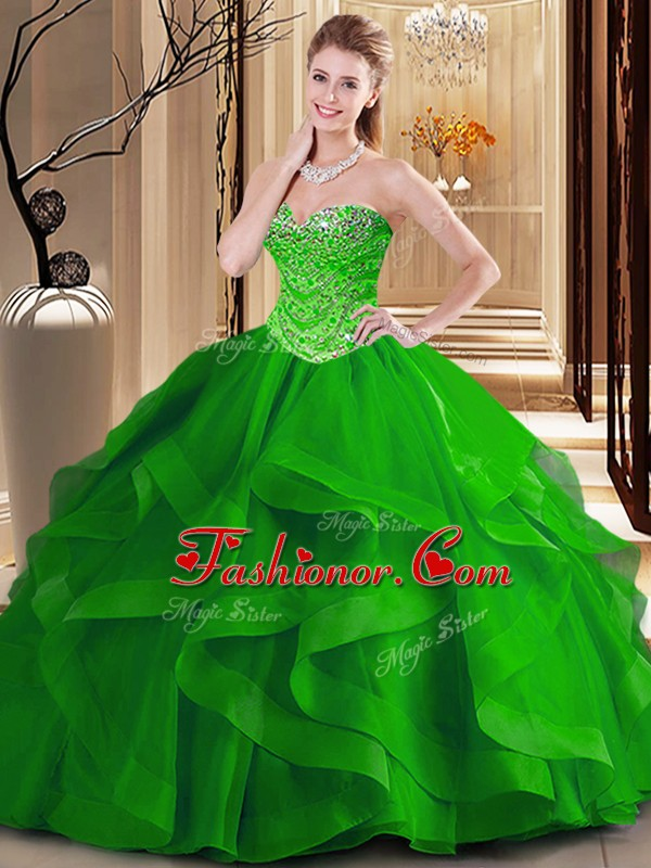 Fantastic Tulle Sweetheart Sleeveless Lace Up Beading and Ruffles Sweet 16 Dress in Green