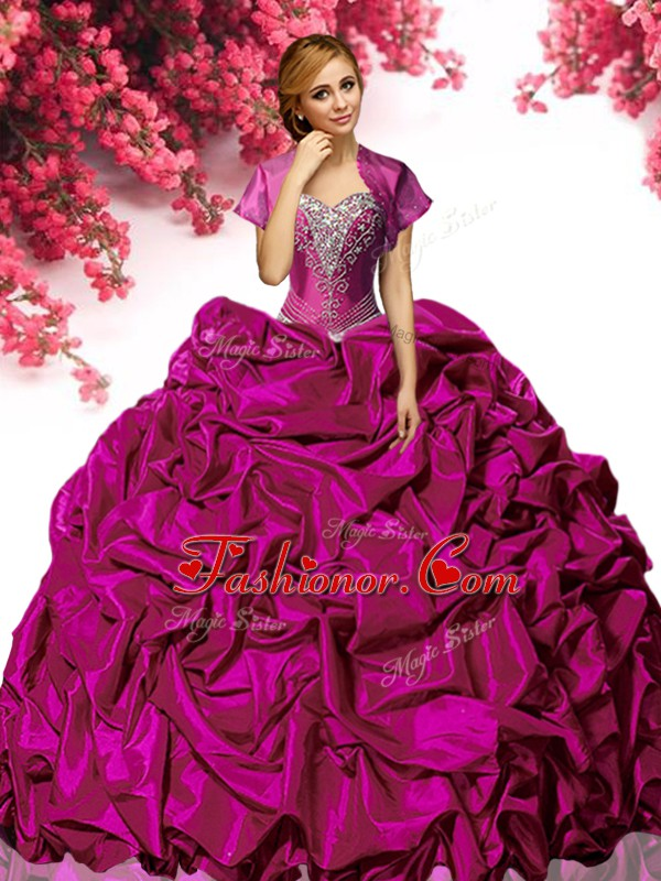 Fuchsia 15 Quinceanera Dress Military Ball and Sweet 16 and Quinceanera with Beading and Ruffles Sweetheart Sleeveless Sweep Train Lace Up