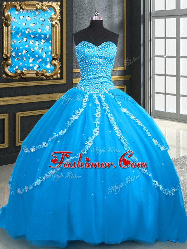 Eye-catching Aqua Blue Tulle Lace Up Vestidos de Quinceanera Sleeveless With Brush Train Beading and Appliques
