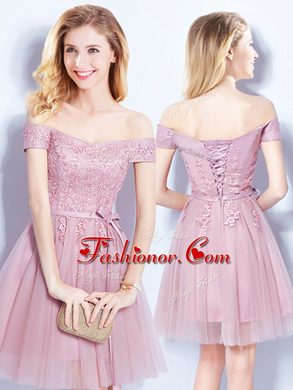 Flare Pink Dama Dress for Quinceanera Prom and Party and Wedding ...