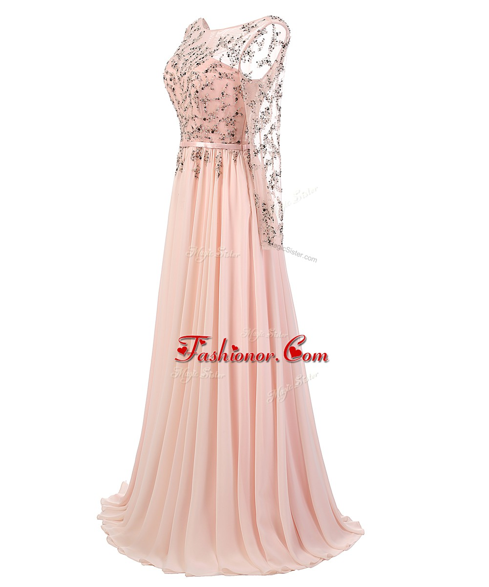 Fashion Backless Scoop Long Sleeves Homecoming Dress With Train ...