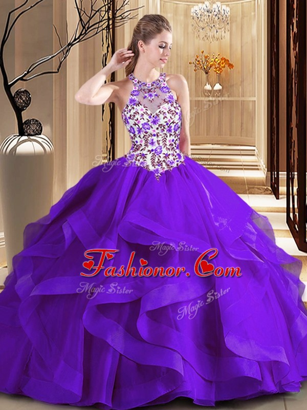 Custom Designed Scoop Purple Ball Gowns Embroidery Quince Ball Gowns Lace Up Tulle Sleeveless