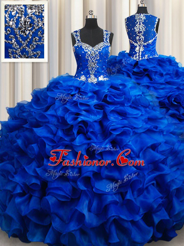 Decent Royal Blue Ball Gowns Organza Straps Sleeveless Beading and Appliques and Ruffles Floor Length Lace Up Sweet 16 Dress