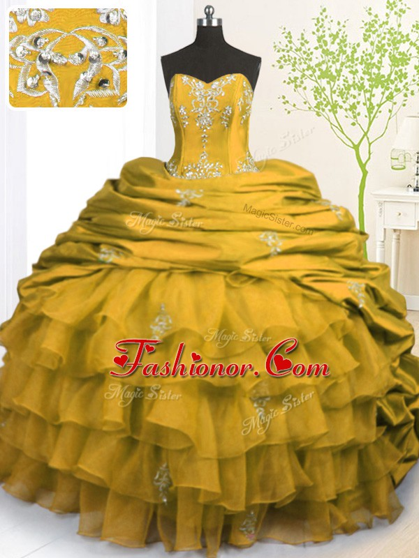 Gold Sleeveless With Train Beading and Appliques and Ruffled Layers and Pick Ups Lace Up Ball Gown Prom Dress