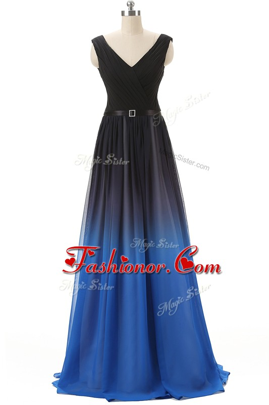 Blue And Black Sleeveless Brush Train Beading