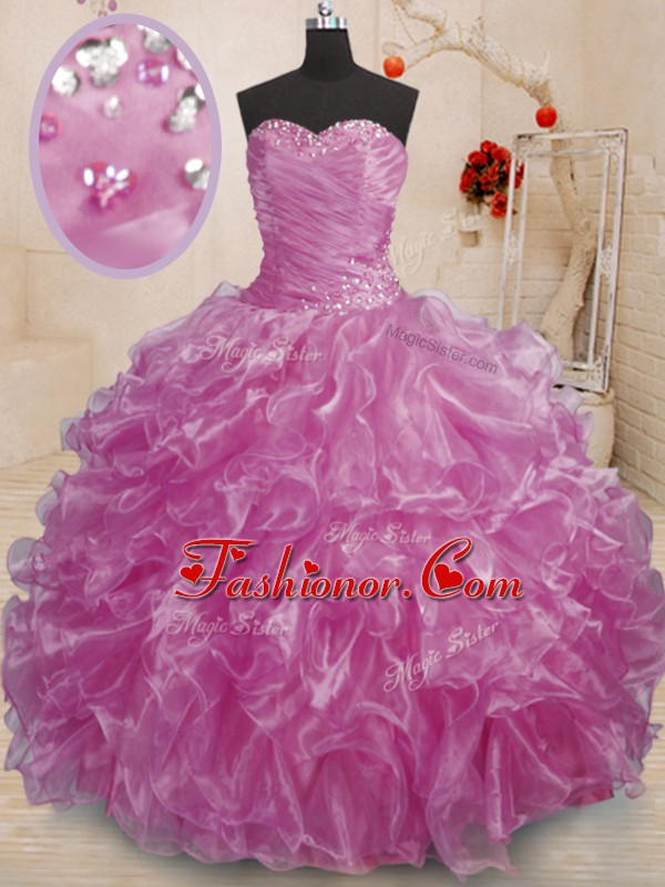 Organza Sweetheart Sleeveless Lace Up Beading and Ruffles 15th Birthday Dress in Lilac