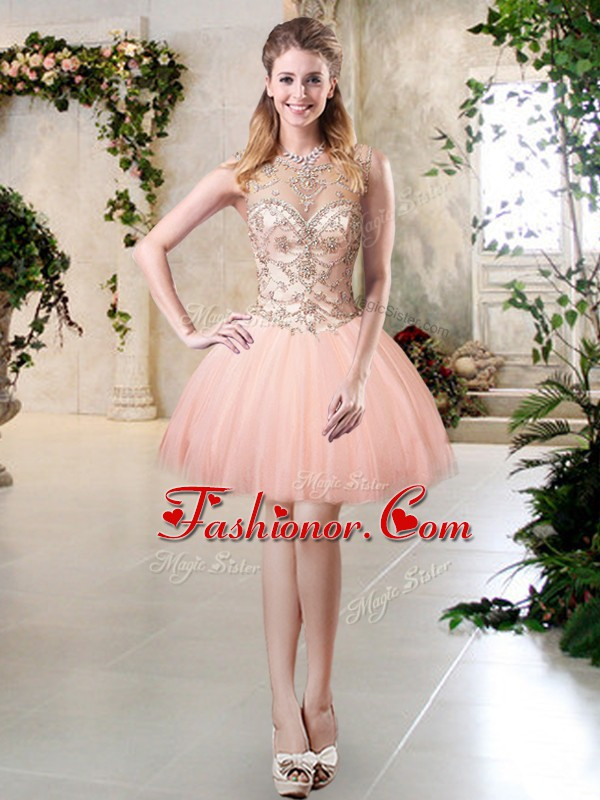 Designer Scoop Sleeveless Tulle Prom Evening Gown Beading Lace Up