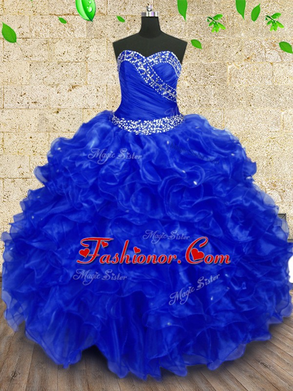Floor Length Royal Blue Quince Ball Gowns Sweetheart Sleeveless Lace Up