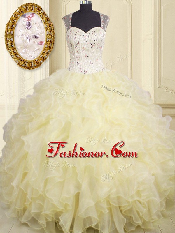 Custom Design Light Yellow Sleeveless Floor Length Beading and Ruffles Lace Up Ball Gown Prom Dress