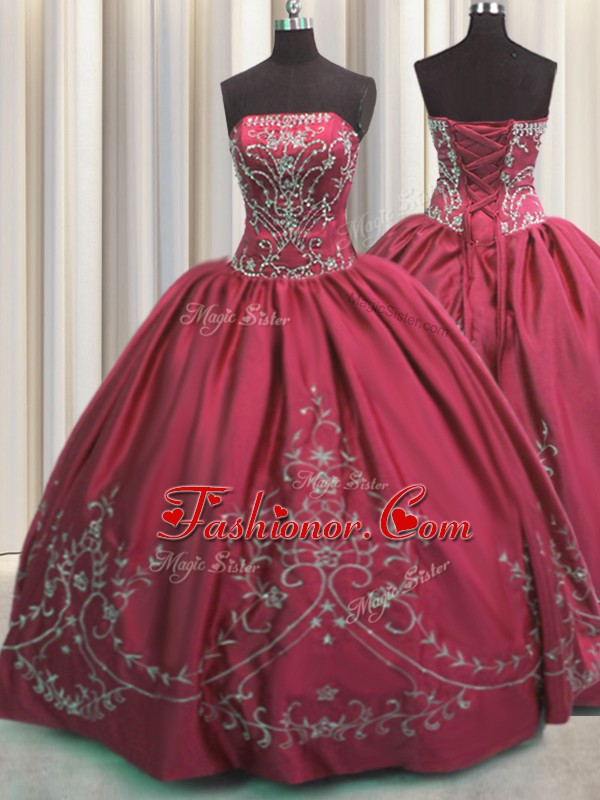 Perfect Floor Length Lace Up Sweet 16 Dresses Coral Red for Military Ball and Sweet 16 and Quinceanera with Beading and Embroidery