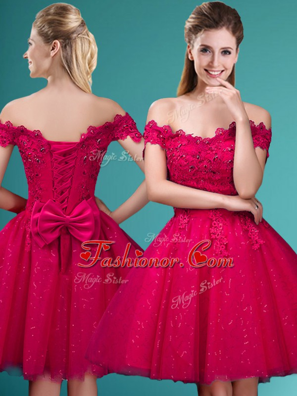 Red A line Off The Shoulder Cap Sleeves Tulle Knee Length