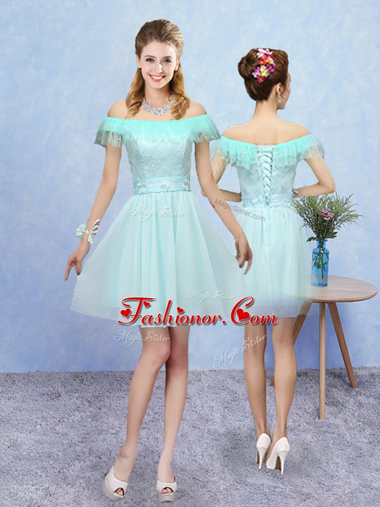 Modest Off The Shoulder Cap Sleeves Dama Dress for Quinceanera Mini Length Lace Aqua Blue Tulle