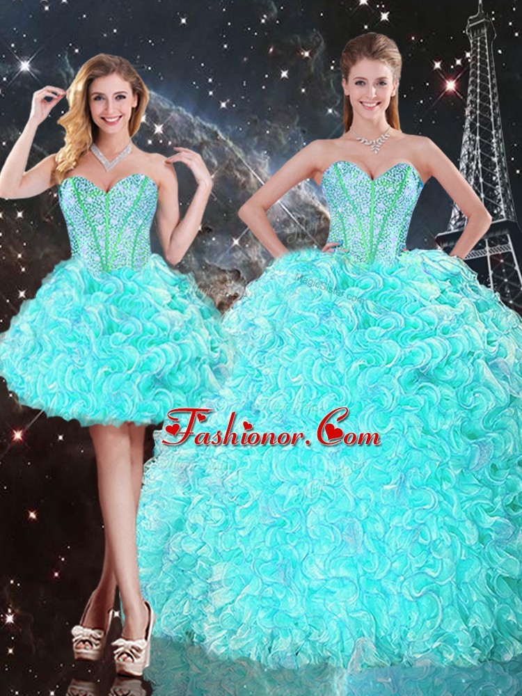 Aqua Blue Strapless Neckline Beading and Ruffles Quinceanera Dresses Sleeveless Lace Up