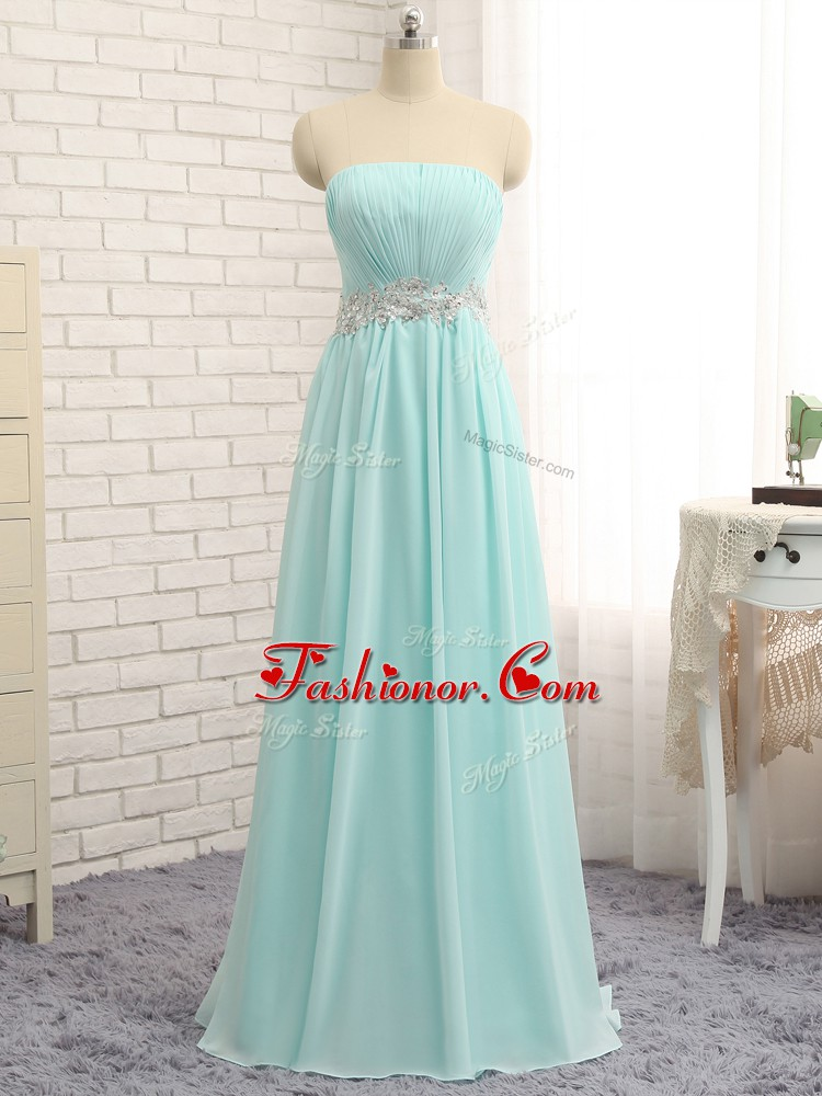 Sleeveless Chiffon Floor Length Zipper Quinceanera Court of Honor Dress in Apple Green with Appliques and Ruching