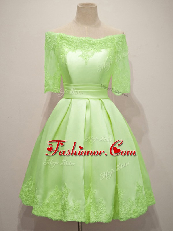 Beauteous Yellow Green Off The Shoulder Lace Up Lace