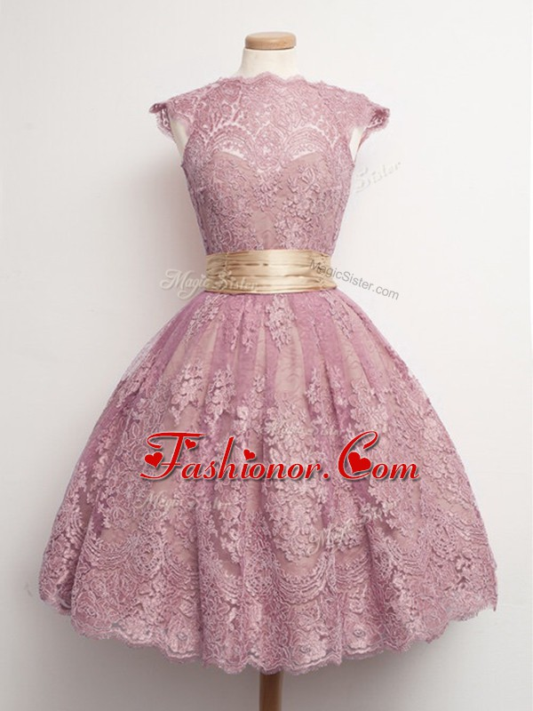 Knee Length Peach Quinceanera Dama Dress Lace Cap Sleeves Belt