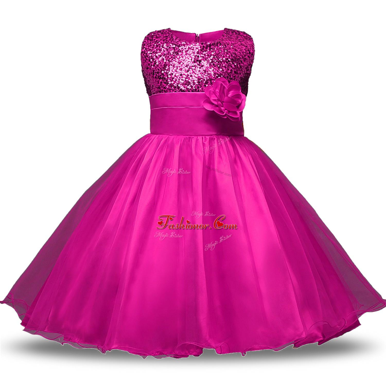 Lovely Knee Length Ball Gowns Sleeveless Fuchsia Toddler Flower Girl
