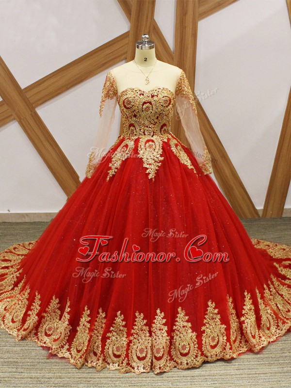 Wine Red Ball Gowns Beading and Appliques Quinceanera Dress Lace Up Tulle Long Sleeves