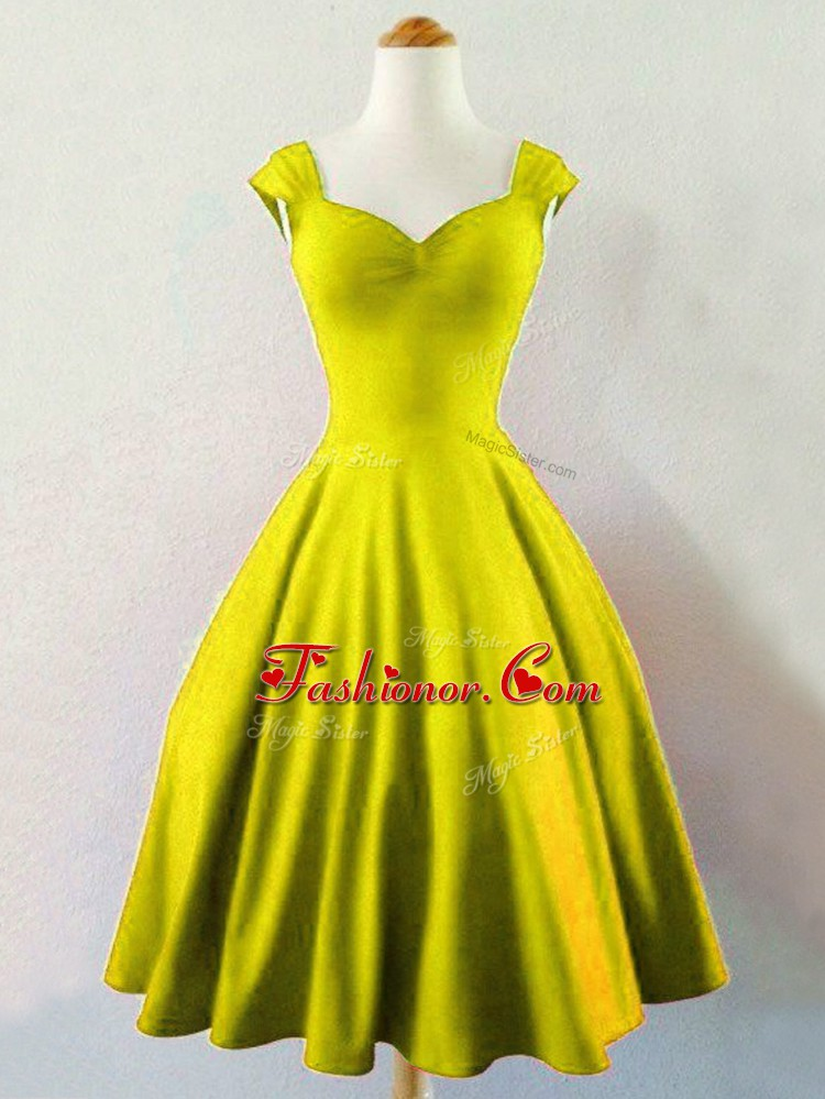 Sexy Olive Green Vestidos de Damas Prom and Party and Wedding Party with Ruching Straps Sleeveless Lace Up