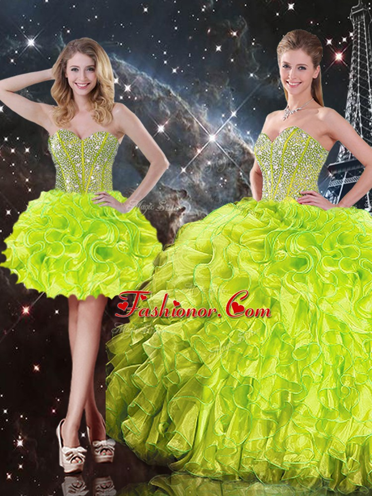 Great Organza Sleeveless Floor Length 15 Quinceanera Dress and Beading and Ruffles
