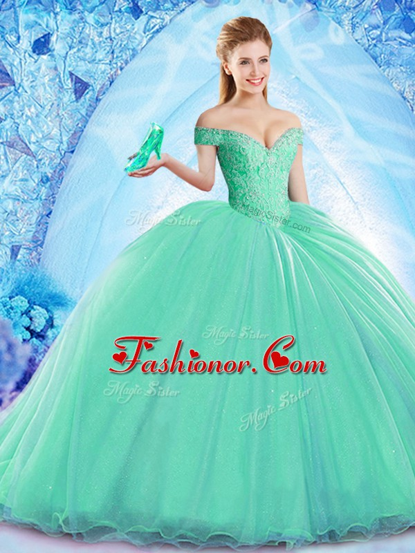 High Class Turquoise Quince Ball Gowns Military Ball and Sweet 16 ...