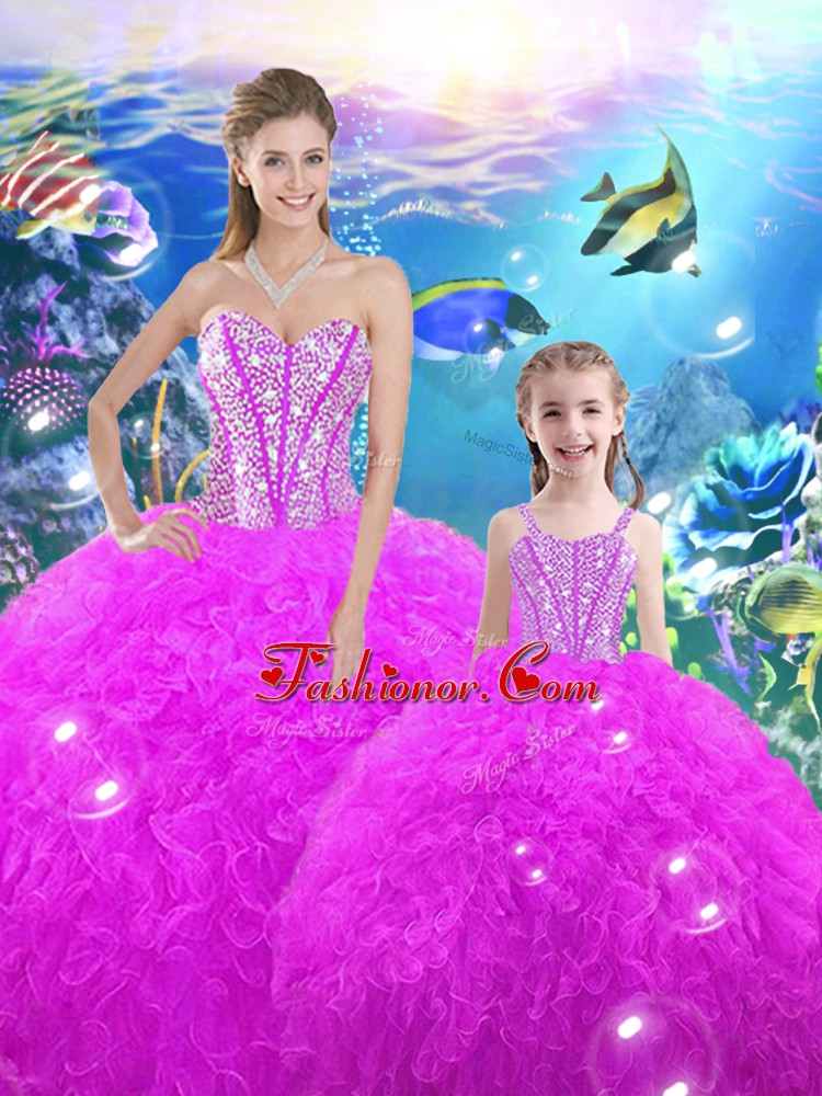 Floor Length Ball Gowns Sleeveless Fuchsia Vestidos de Quinceanera Lace Up