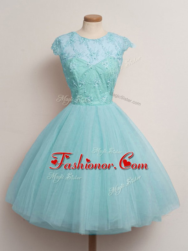 Aqua Blue Ball Gowns Scoop Cap Sleeves Tulle Knee Length Lace Up Lace Damas Dress