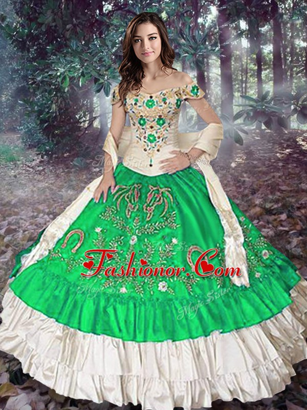 Green Sleeveless Floor Length Embroidery and Ruffled Layers Lace Up Quinceanera Gowns