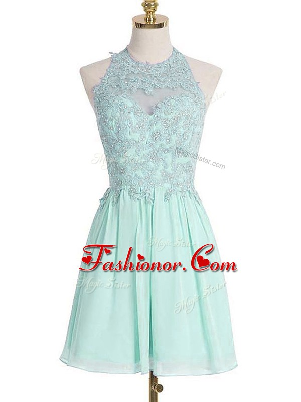 Great Sleeveless Chiffon Knee Length Lace Up Vestidos de Damas in Apple Green with Appliques