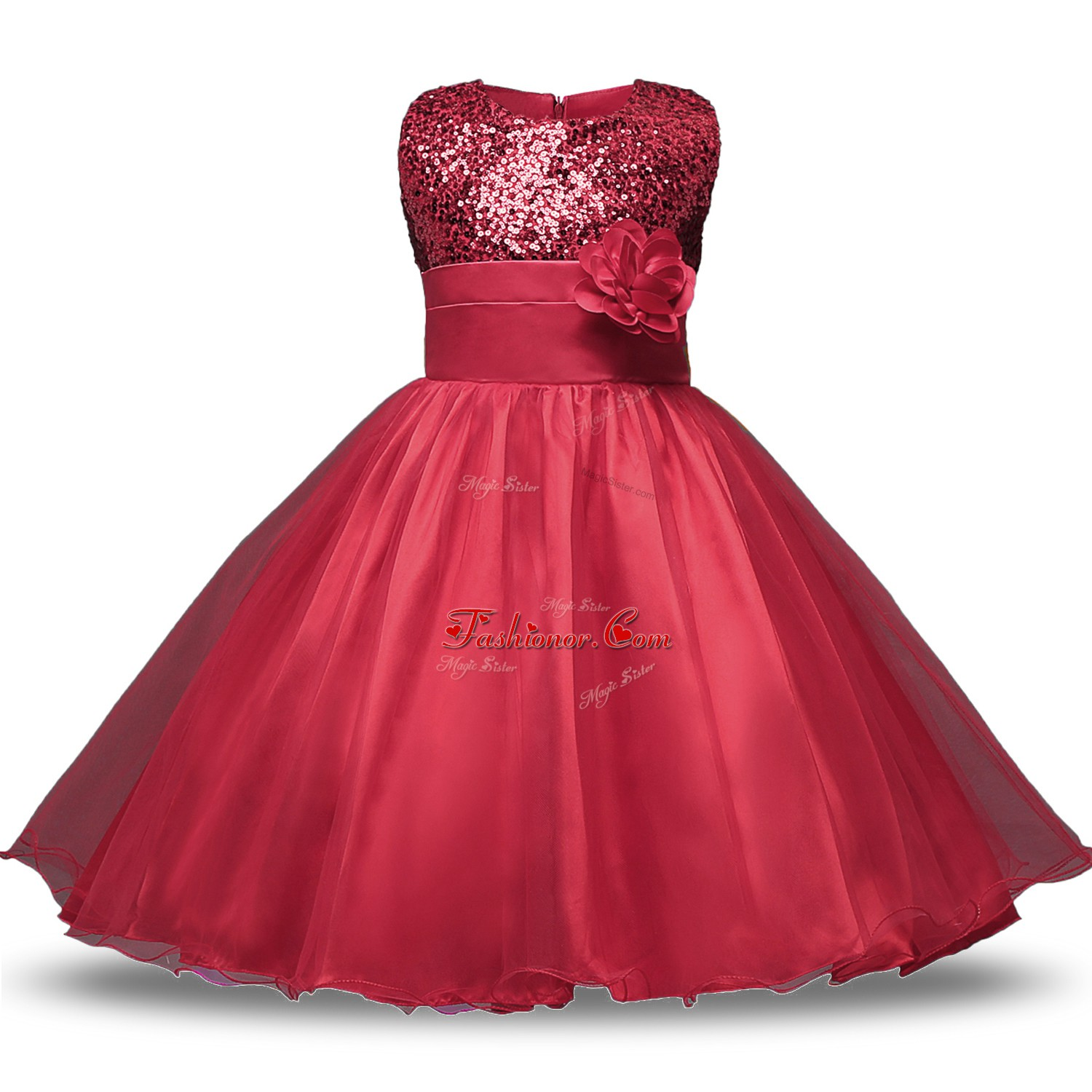 Stylish Wine Red Sleeveless Organza and Sequined Zipper Flower Girl ...