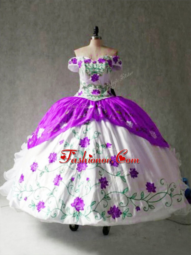 Stunning White And Purple Cap Sleeves Organza and Taffeta Lace Up Sweet 16 Dresses for Military Ball and Sweet 16 and Quinceanera