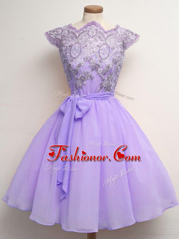 Fashion Knee Length Lavender Court Dresses for Sweet 16 Scalloped Cap Sleeves Lace Up