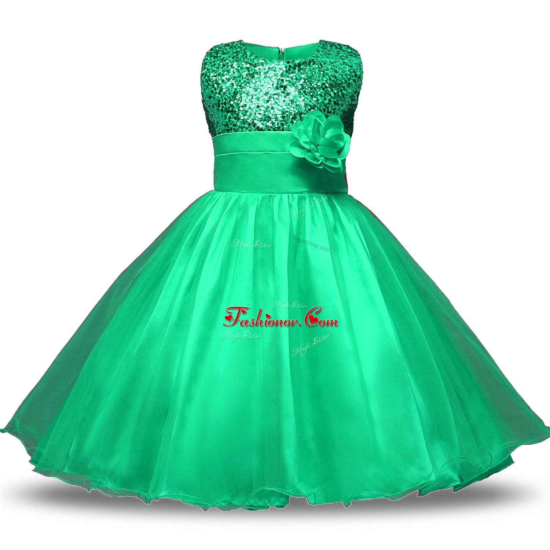 Knee Length Ball Gowns Sleeveless Turquoise Flower Girl Dress Zipper ...