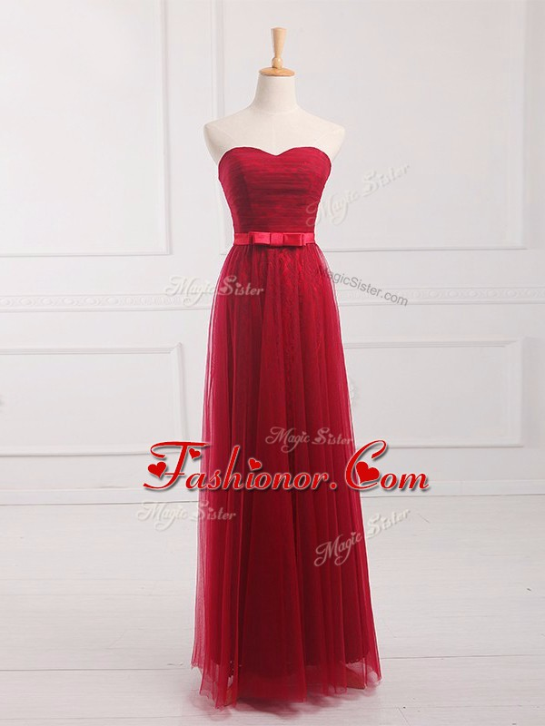 Comfortable Wine Red Tulle and Lace Lace Up Dama Dress for Quinceanera Sleeveless Floor Length Belt