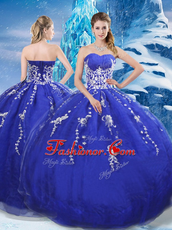 Sweetheart Sleeveless Quinceanera Gown Floor Length Appliques Blue Organza