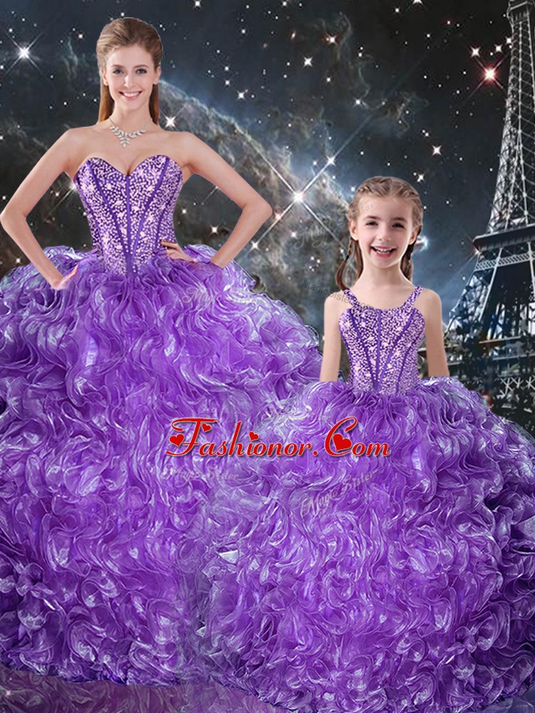 Floor Length Eggplant Purple Quinceanera Dresses Organza Sleeveless Beading and Ruffles