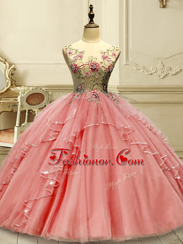 Watermelon Red Scoop Neckline Appliques Sweet 16 Quinceanera Dress Sleeveless Lace Up