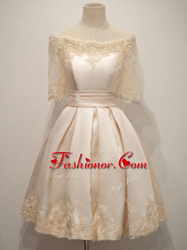 Champagne Half Sleeves Knee Length Lace Zipper Dama Dress for Quinceanera