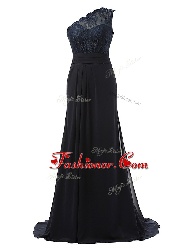 Hot Sale One Shoulder Sleeveless Brush Train Side Zipper Quinceanera Court Dresses Black Chiffon