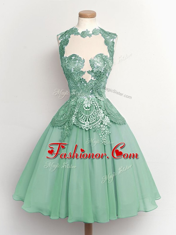 Super Knee Length Light Blue Dama Dress for Quinceanera High-neck Sleeveless Lace Up