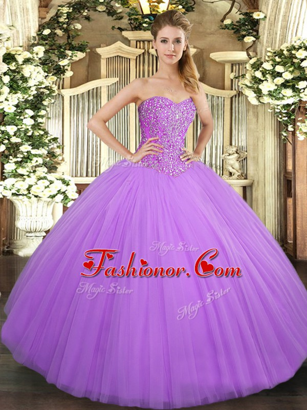 Lilac Ball Gowns Tulle Sweetheart Sleeveless Beading Floor Length Lace Up Quinceanera Gown