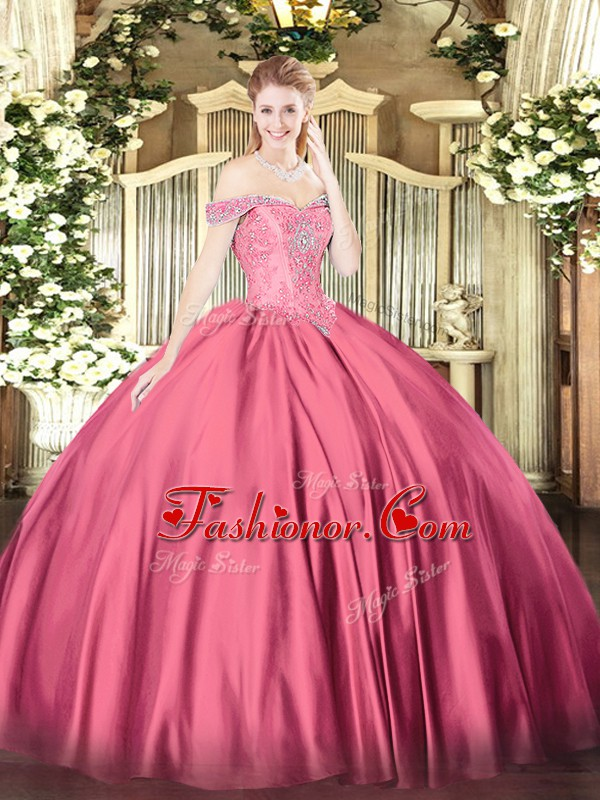 Off The Shoulder Sleeveless Lace Up Quinceanera Dresses Hot Pink Satin